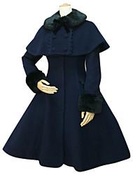 cheap -Princess Winter Sweet Lolita Cape Coat Wool Women's Coat Cosplay Long Sleeve Medium Length Halloween Costumes