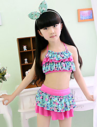 Girl Floral Ruffle Floral Patchwork Swimwear,Spandex