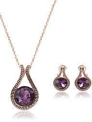 cheap -Women's Amethyst Costume Jewelry Crystal Alloy Drop 1 Pair of Earrings Necklaces For Wedding Party Wedding Gifts