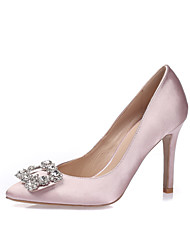 cheap -Women's Shoes Silk Spring Summer Heels Stiletto Heel Pointed Toe Closed Toe Rhinestone Sparkling Glitter for Wedding Dress Party & Evening