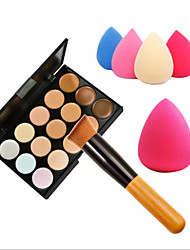 cheap -15 Colors Concealer Makeup Palette Wooden Handle BrushSponge Puff Makeup Set Base Foundation Face Cream Care Contouring