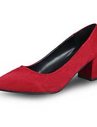 Dámské Podpatky Pohodlné hrbit boty PU Podzim Zima Ležérní Pohodlné hrbit boty Nízký podpatek Černá Šedá Červená 2.5 - 4.5 cm