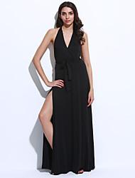 Gaine Robe Femme Soirée / Cocktail Sexy,Couleur Pleine Col en V Maxi Sans Manches Noir / Gris / Vert Polyester Eté Taille Normale
