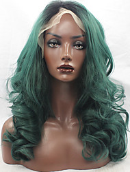 cheap -Dark Green Color Synthetic Hair Fiber Wig Loose Wave Hair Black Root Heat Resistant Synthetic Lace Front Wigs