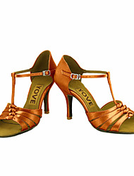cheap -Women's Latin Salsa Satin Silk Sandal Heel Professional Performance Buckle Ribbon Tie Customized Heel Blue Pink Bronze Almond Nude