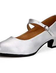 cheap -Women's Latin Jazz Sparkling Glitter Leather Heel Practice Beginner Indoor Outdoor Performance Buckle Sparkling Glitter Customized Heel