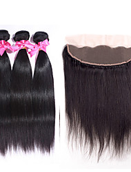 3 Bundles Peruvian Virgin Hair Straight with 1Pc 134 Lace Frontal Closure 100% Human Hair Weaves with Lace Frontal