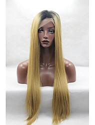 cheap -Synthetic Lace Front Wig Straight Blonde Synthetic Hair Dark Roots / Natural Hairline / African American Wig Blonde Wig Women's Lace Front Yellow