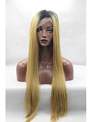 Femme Perruque Lace Front Synthétique Droite Jaune Racines foncées Ligne de Cheveux Naturelle Perruque afro-américaine Perruque Naturelle