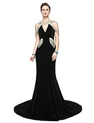 economico -A tubino A V Lungo Velluto Serata formale Vestito con Con strass A pieghe di TS Couture®