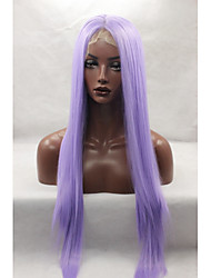cheap -Synthetic Lace Front Wig Straight Middle Part Natural Hairline Purple Women's Lace Front Carnival Wig Halloween Wig Natural Wigs Long