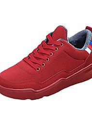 Masculino Tênis Conforto Couro Ecológico Primavera Outono Casual Conforto Cadarço Rasteiro Preto Vermelho Preto/Vermelho 5 a 7 cm