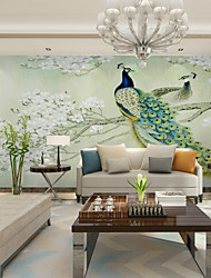 JAMMORY Green Peacock Wallpaper Mural  Wall Covering Canvas Material Golden ChurchXL XXL XXXL