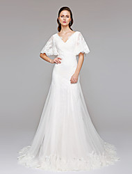 cheap -A-Line V-neck Court Train Lace Tulle Wedding Dress with Sequin Appliques Button by LAN TING BRIDE®