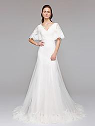 baratos -Linha A Decote V Cauda Corte Renda / Tule Vestidos de casamento feitos à medida com Lantejoulas / Apliques / Botão de LAN TING BRIDE®