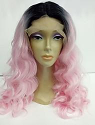 economico -Donna Parrucche sintetiche Lace frontale Medio Onda naturale Rosa Capelli schiariti parrucca del merletto costumi parrucche