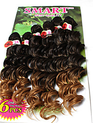 promotion price ombre brown color synthetic deep wave deep curly Braids Hair Extensions synthetic hair bundles Kanekalon 6 bundles/lot