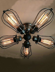 Flush Mount ,  Vintage Painting Feature for Mini Style Bulb Included Metal Living Room Bedroom Dining Room Study Room/Office