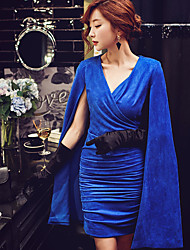 DABUWAWA Women's Going out Formal Party/Cocktail Sexy Vintage Sophisticated Bodycon Shift Sheath Cape DressSolid V Neck Above Knee Sleeveless Blue