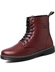 Masculino-Botas-Conforto-Rasteiro-Preto Marrom Vermelho-Couro Ecológico-Casual