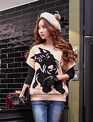 DABUWAWA Women's Going out Casual/Daily Holiday Simple Cute Street chic Regular Pullover,Animal Print Color Block Beige Round Neck Short Sleeve