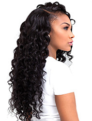 cheap -HOT Long Curly Black Synthetic L Part Lace Wig Top Quality Heat Resistant Fiber Synthetic Hair For Women