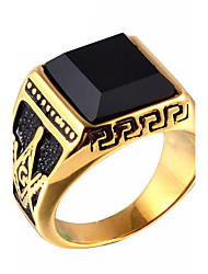 Men's Fashion 316L Titanium Steel Personality Vintage Gold Plating Gem Onyx Jewel Agate Rings Casual/Daily Accessory 1pc