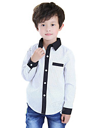cheap -Boys' Daily Going out Polka Dot Shirt, Cotton Spring Fall Long Sleeves Dot White