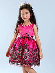 Pigens Kjole I-byen-tøj Ensfarvet Sommer Uden ærmer Rosette Rosa