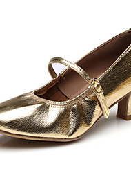 cheap -Women's Jazz Shoes Leather Heel Indoor / Performance / Outdoor Buckle Flat Heel Customizable Dance Shoes Gold / Black / Silver