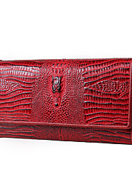 cheap -Women Bags PU Cowhide Checkbook Wallet Ruffles for Shopping Casual All Seasons Black Red