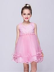Vestido de baile vestido de flor com joelho com joelho - organza pérola sem mangas com pérola por minuto
