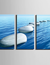 cheap -E-HOME Stretched Canvas Art Stone Road On Water Decoration Painting Set Of 3
