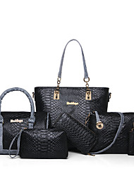 cheap -Women's Bags Other Leather Type Bag Set 6 Pieces Purse Set for Casual All Seasons Blue Black Beige Gray Purple