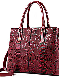 cheap -Women Bags PU Tote Flower(s) Zipper for Formal Office & Career All Seasons Blue Black Brown Wine