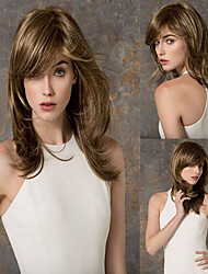 Kvinder Syntetiske parykker Lågløs Bølget Mørkebrun Naturlig paryk kostume Parykker