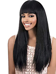 Grade 9A Brazilian Virgin Hair Yaki Straight Lace Front Wigs With Bang Natural Black Color Virgin Human Hair Lace Wigs Kinky Straight Hair