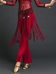 abordables -Danza del Vientre Pañuelos de Cadera para Danza del Vientre Mujer Rendimiento Poliéster Borla Bufanda Hip y cinta de Danza del vientre no incluidas.
