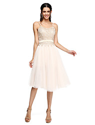 A-Line Spaghetti Straps Knee Length Tulle Bridesmaid Dress with Appliques Sash / Ribbon by LAN TING BRIDE®