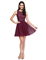 cheap -A-Line Jewel Neck Short / Mini Chiffon Lace Bridesmaid Dress with Buttons Sash / Ribbon by LAN TING BRIDE®