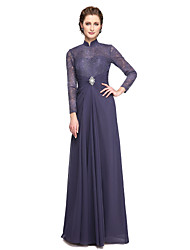 cheap -A-Line High Neck Floor Length Chiffon Lace Mother of the Bride Dress with Beading Lace Pleats by LAN TING BRIDE®