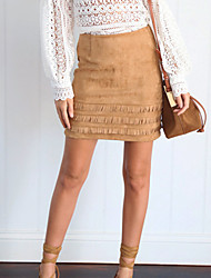 Women's Bodycon Solid OL Style Tassel All Match Suede SkirtsGoing out Club Simple Street chic High Rise Above Knee Zipper Micro-elastic