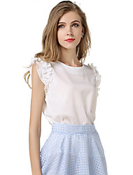 Feminino Blusa Casual Simples Fofo Primavera Verão,Sólido Branco Poliéster Decote Redondo Sem Manga Opaca Fina
