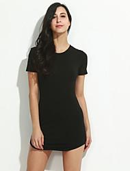 preiswerte -Damen Hülle Kleid-Lässig/Alltäglich Sexy Solide Rundhalsausschnitt Mini Kurzarm Weiß / Schwarz Polyester Herbst Mittlere Hüfthöhe