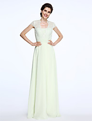 cheap -A-Line Queen Anne Floor Length Chiffon Lace Mother of the Bride Dress with Lace Sash / Ribbon Ruched by LAN TING BRIDE®