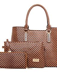 Donna Sacchetti Per tutte le stagioni PU (Poliuretano) sacchetto regola Set di borsa da 3 pezzi Borchie per Formale Giallo Fucsia Marrone