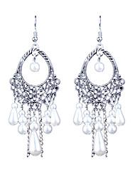 abordables -estilo popular retro largo hueco perla pendientes estilo femenino clásico
