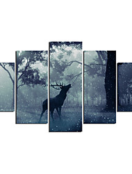cheap -Animals Modern, Five Panels Canvas Any Shape Print Wall Decor Home Decoration