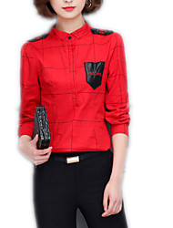 Women's Casual/Daily Formal Work Vintage Street chic Sophisticated All Seasons Spring Shirt,Solid Stand Long Sleeve Red White Black Others