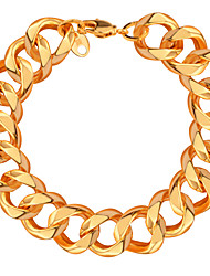 Men Luxury Jewelry Big Size New Trendy Bracelets 18K Gold Plated 14.3 MM Figaro Chain Lobster Bracelets Bangles B40050